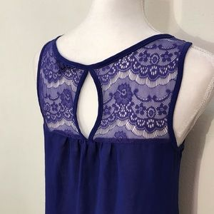 Mine Blue Sheer Tank Top Size Small Lace & Ruffles